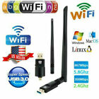600Mbps USB WiFi Adapter Dongle Card Wireless Network Laptop Desktop PC Antenna