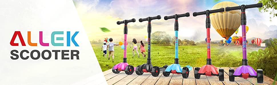 allek kick scooter for kids boys girls adjustable height light-up wheels heavy duty deck 3 wheeled