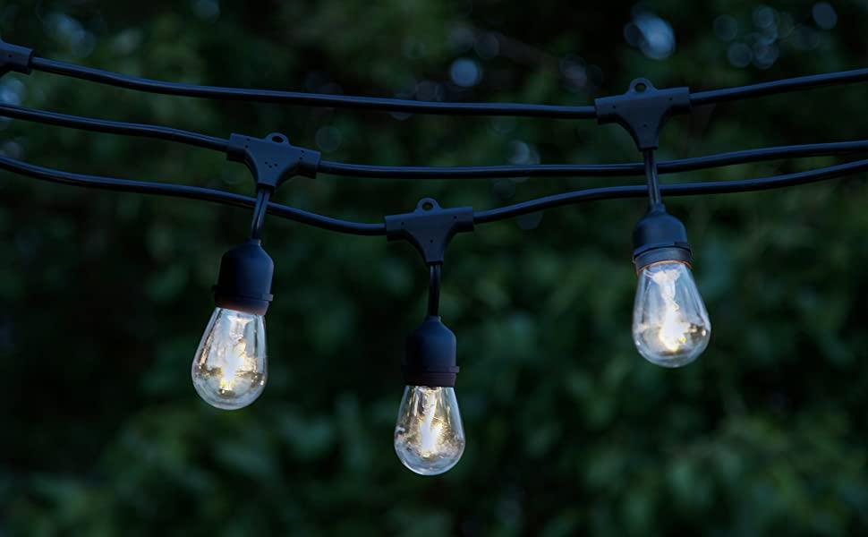 Brightech Ambience Pro LED Waterproof Outdoor String Lights Heavy Duty, Hanging Vintage Edison Bulbs