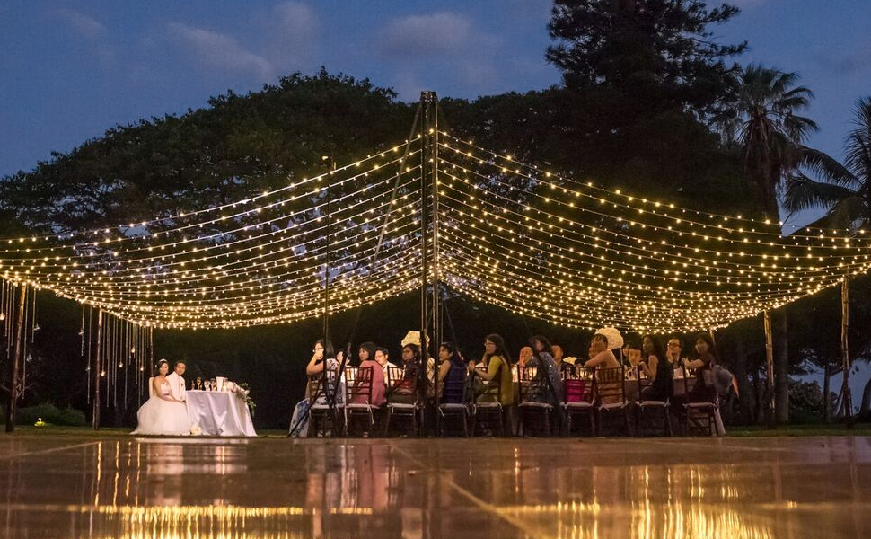 outdoor curtain lights for party and weddings